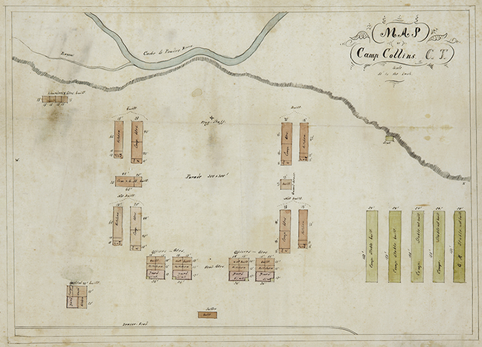 Diagram for Camp Collins on the Cache la Poudre River in Colorado, 1864